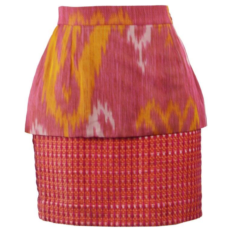 Gianfranco Ferre Vintage Woven Leather & Silk Pink Mini Peplum Skirt, 1990s For Sale