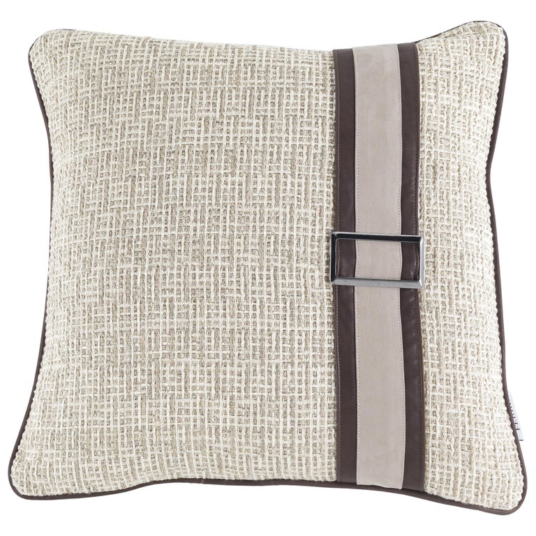 Gianfranco Ferré Wahi Cushion in Fabric and Leather For Sale
