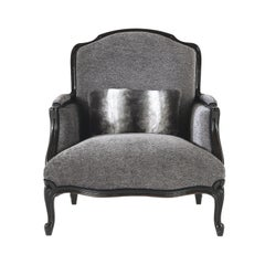 Gianfranco Ferré Home Welcome Armchair in Grey Woven Fabric