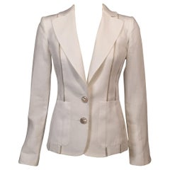 Gianfranco Ferre White Linen Jacket with Sheer Silk Organza Panels