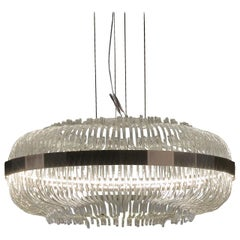 Gianfranco Ferré Home Wicker Large Chandelier in Brass and Clear Glass