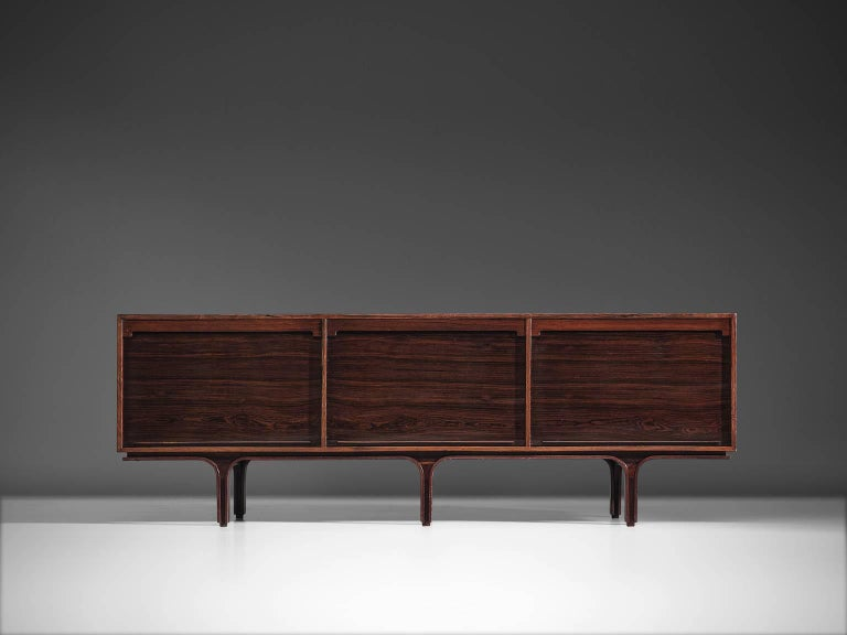 Mid-Century Modern Gianfranco for Bernini Credenza with Tambour Doors For Sale