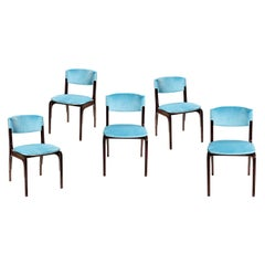 Gianfranco Frattini 5 Blue Velvet Chairs Mid-Century Modern