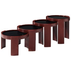 Gianfranco Frattini '780' Nesting Table in Burgundy