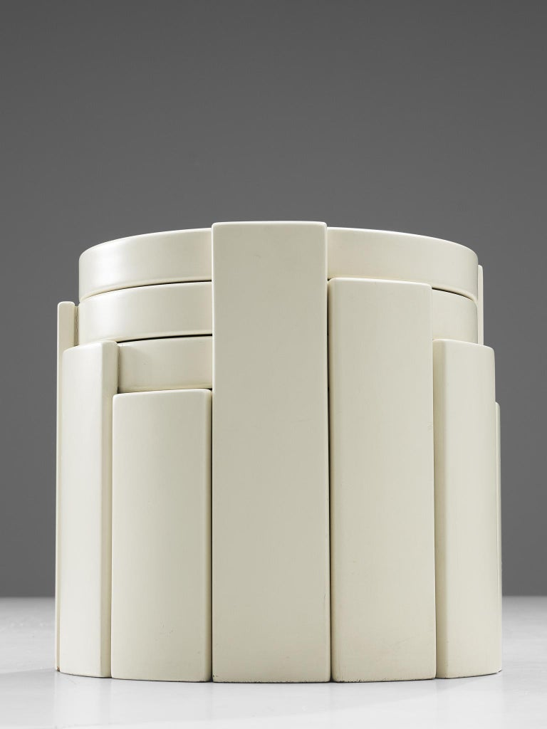 Gianfranco Frattini '780' Nesting Table in White In Good Condition In Waalwijk, NL