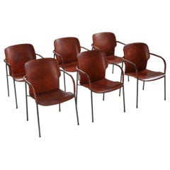 Gianfranco Frattini Armchairs Model 'Lalanda' in Dark Cognac Leather