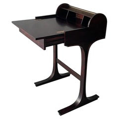 Gianfranco Frattini Bernini Small Desk with Central Roller Rosewood, Italy, 1957