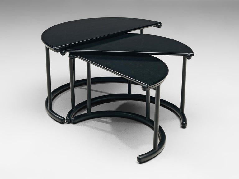 Mid-Century Modern Gianfranco Frattini for Acerbis Nesting Tables 'Tria' in Black Metal For Sale