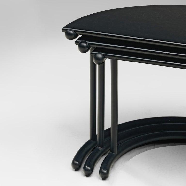 Italian Gianfranco Frattini for Acerbis Nesting Tables 'Tria' in Black Metal For Sale