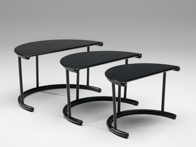 Gianfranco Frattini for Acerbis Nesting Tables 'Tria' in Black Metal In Good Condition For Sale In Waalwijk, NL