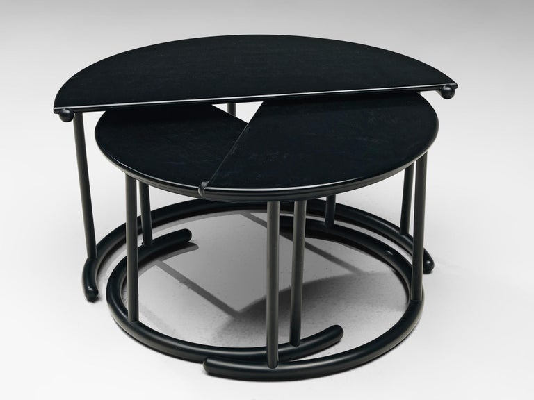 Late 20th Century Gianfranco Frattini for Acerbis Nesting Tables 'Tria' in Black Metal For Sale