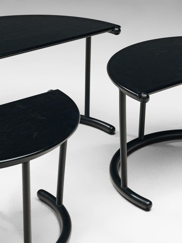 Gianfranco Frattini for Acerbis Nesting Tables 'Tria' in Black Metal For Sale 1