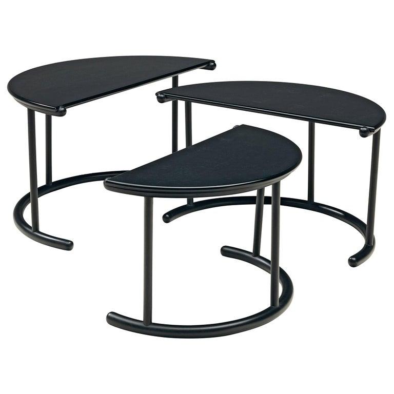 Gianfranco Frattini for Acerbis Nesting Tables 'Tria' in Black Metal For Sale