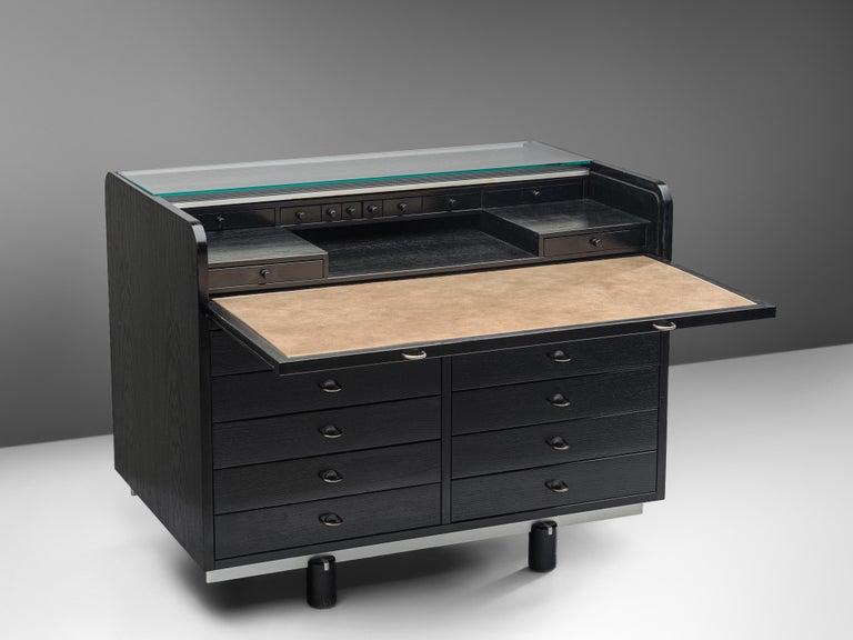 Italian Gianfranco Frattini for Bernini Cabinet with Desk Model 804 in Black For Sale