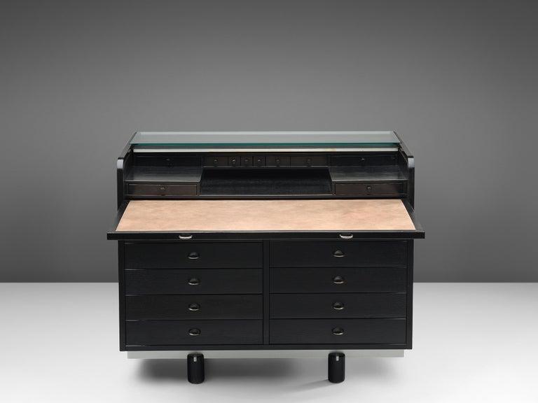 Mid-20th Century Gianfranco Frattini for Bernini Cabinet with Desk Model 804 in Black For Sale