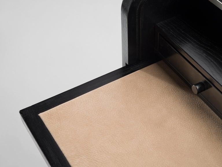 Glass Gianfranco Frattini for Bernini Cabinet with Desk Model 804 in Black For Sale
