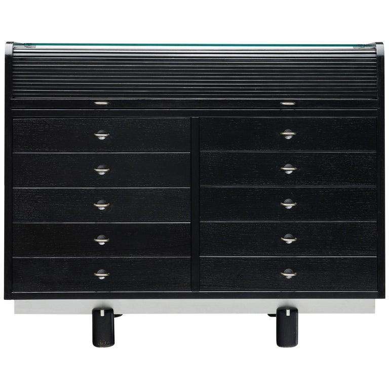 Gianfranco Frattini for Bernini Cabinet with Desk Model 804 in Black For Sale