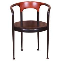 Gianfranco Frattini for Bernini Italian Rosewood and Leather Desk Chair, 1960s