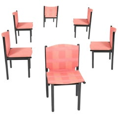 Gianfranco Frattini for Cassina Dining Chair, Black Lacquered Frame, Pink, 1985