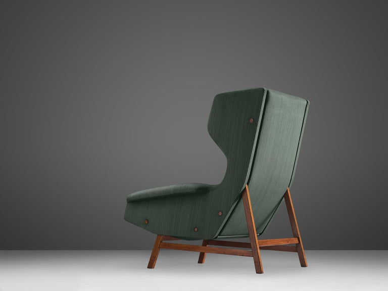 Italian Gianfranco Frattini for Cassina Lounge Chair 877 in Blue Fabric and Teak For Sale