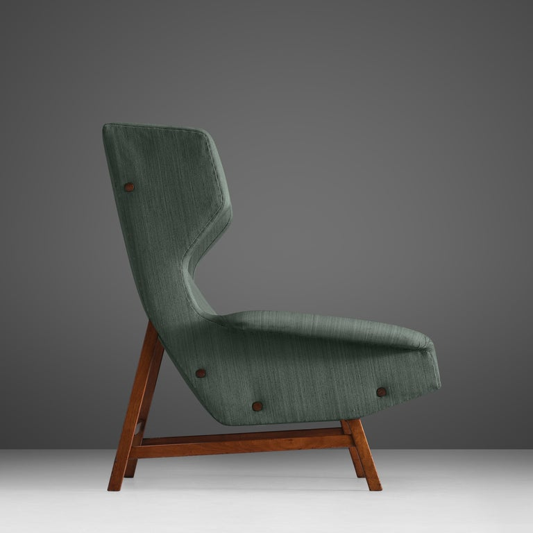 Gianfranco Frattini for Cassina Lounge Chair 877 in Blue Fabric and Teak In Good Condition For Sale In Waalwijk, NL