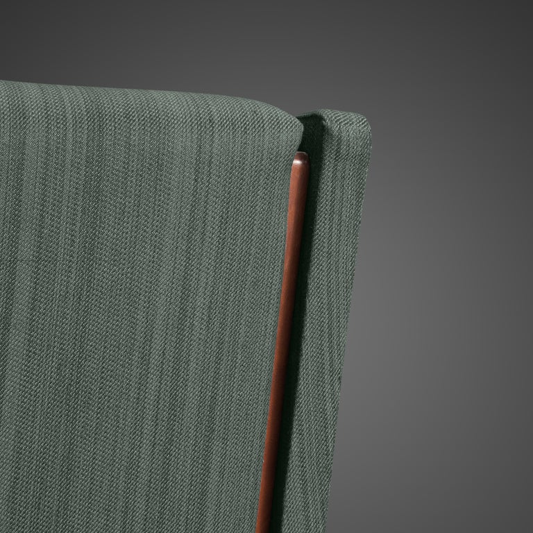Mid-20th Century Gianfranco Frattini for Cassina Lounge Chair 877 in Blue Fabric and Teak For Sale