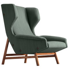 Gianfranco Frattini for Cassina Lounge Chair 877 in Blue Fabric and Teak