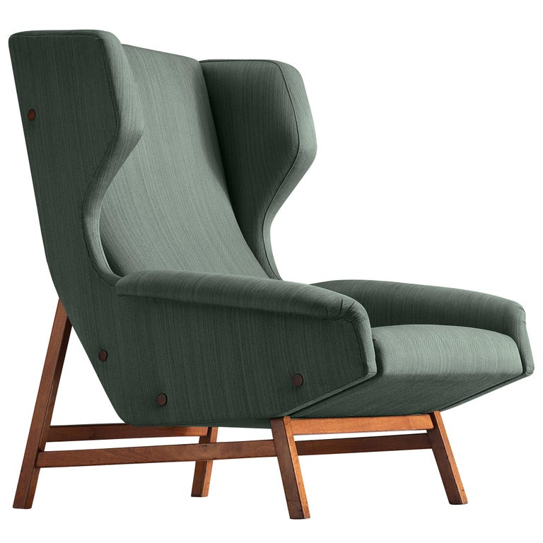 Gianfranco Frattini for Cassina Lounge Chair 877 in Blue Fabric and Teak For Sale