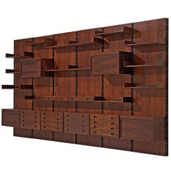 Gianfranco Frattini Grand Wall Unit in Rosewood