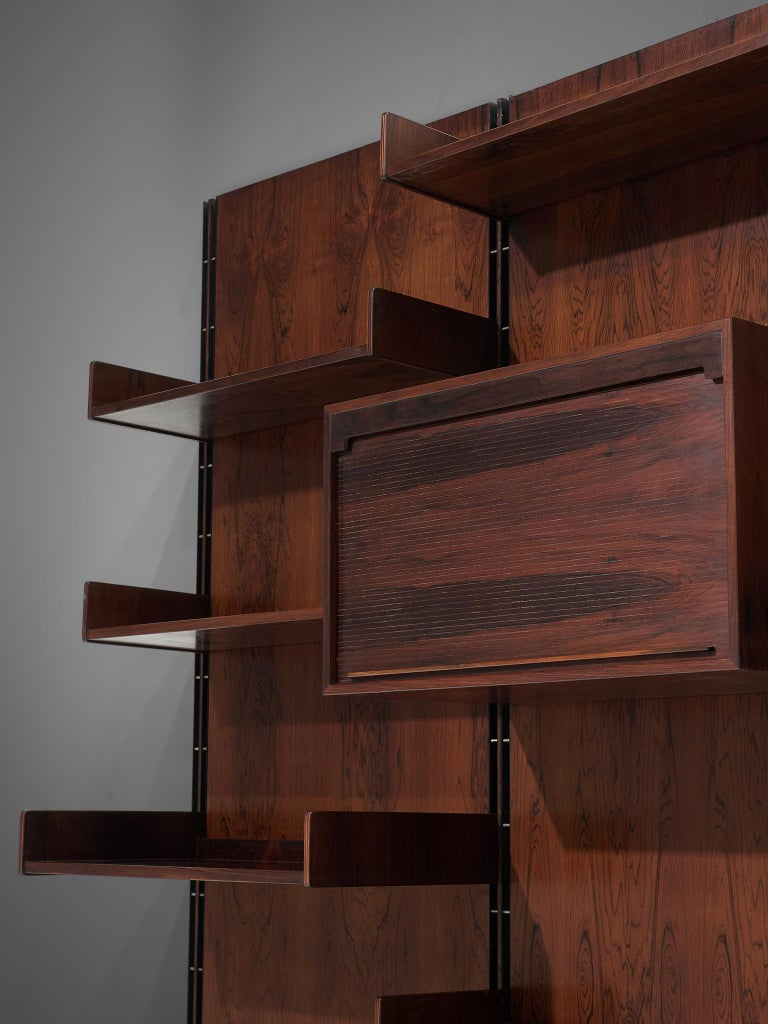 Gianfranco Frattini Grand Wall Unit in Exotic Hardwood For Sale 3