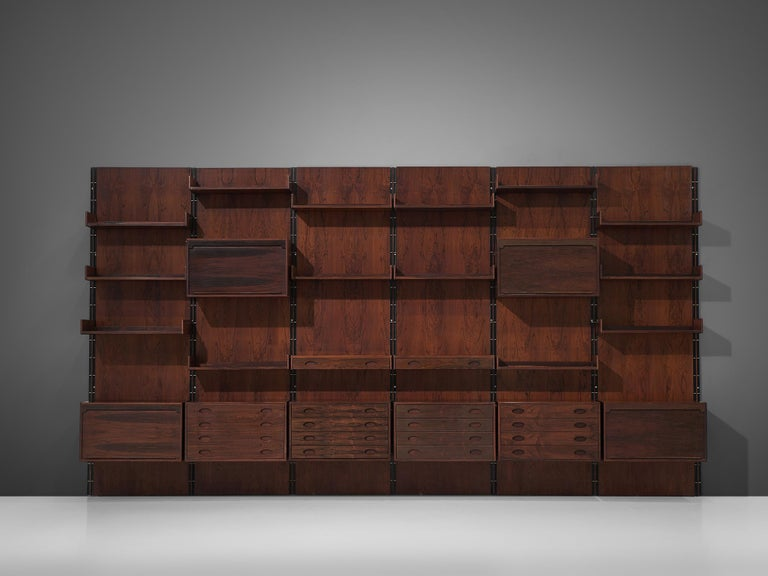 Mid-Century Modern Gianfranco Frattini Grand Wall Unit in Exotic Hardwood For Sale