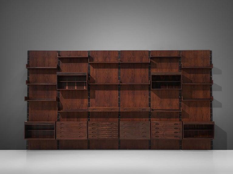 Italian Gianfranco Frattini Grand Wall Unit in Exotic Hardwood For Sale