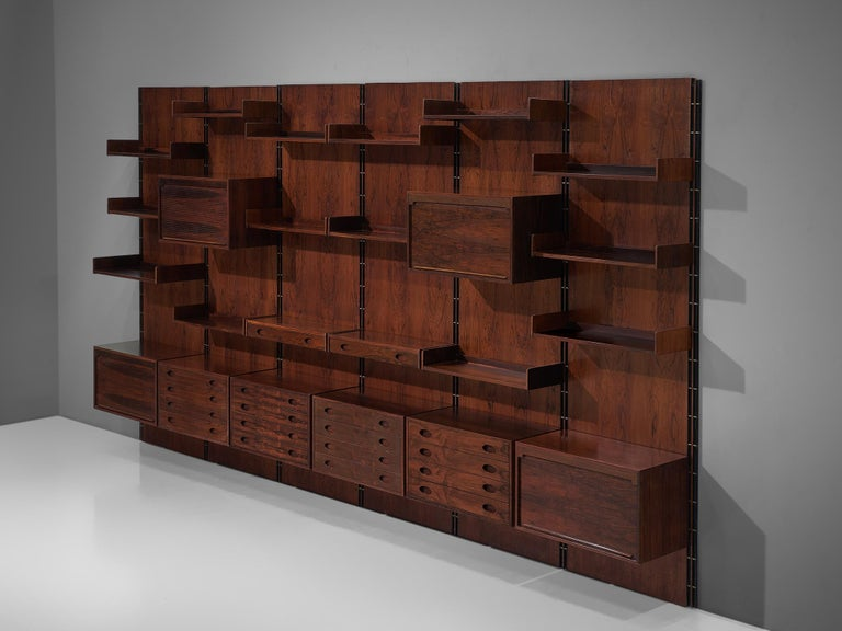Mid-20th Century Gianfranco Frattini Grand Wall Unit in Exotic Hardwood For Sale