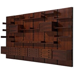 Gianfranco Frattini Grand Wall Unit in Exotic Hardwood