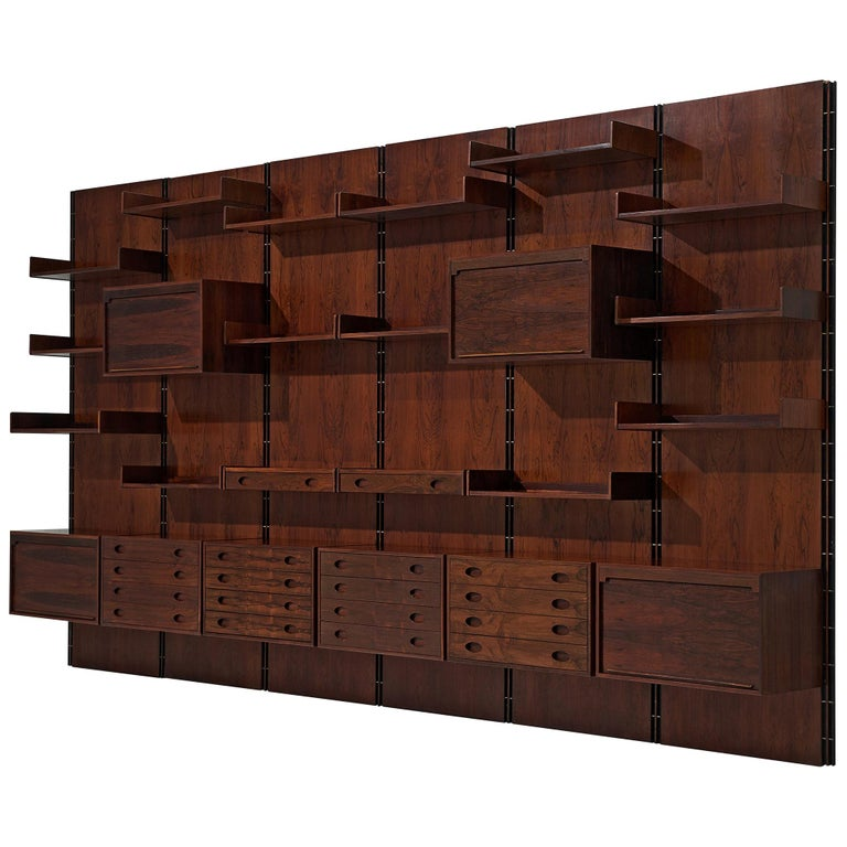 Gianfranco Frattini Grand Wall Unit in Exotic Hardwood For Sale