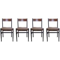 Gianfranco Frattini, Italian Mid-Century Modern Set of 4 Wooden Chairs, 1950s