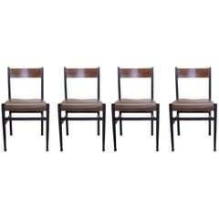 Gianfranco Frattini, Italian Mid-Century Modern Set of 4 Wooden Chairs, 1950s