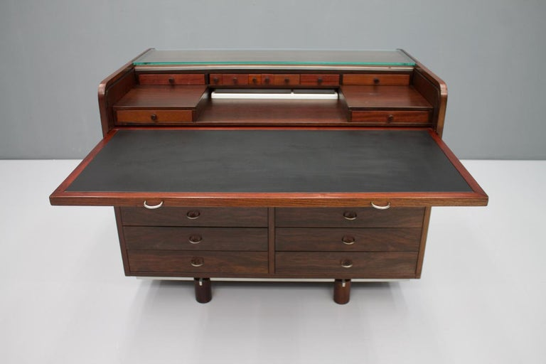 Gianfranco Frattini Mahogany Secretary Desk with Roll Top, Bernini, Italy, 1961 4