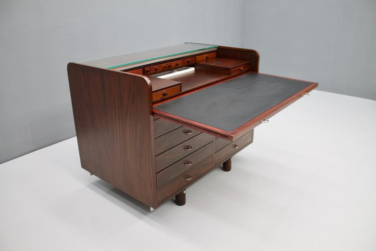 Gianfranco Frattini Mahogany Secretary Desk with Roll Top, Bernini, Italy, 1961 5