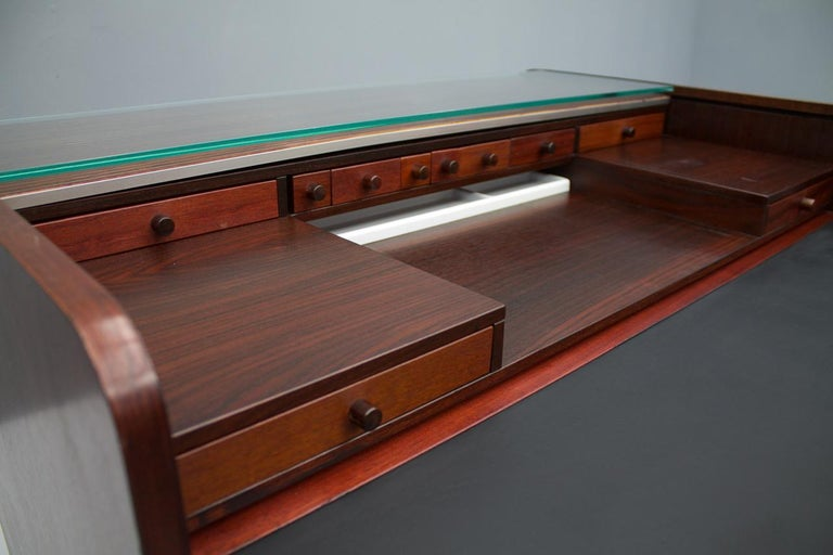 Gianfranco Frattini Mahogany Secretary Desk with Roll Top, Bernini, Italy, 1961 6