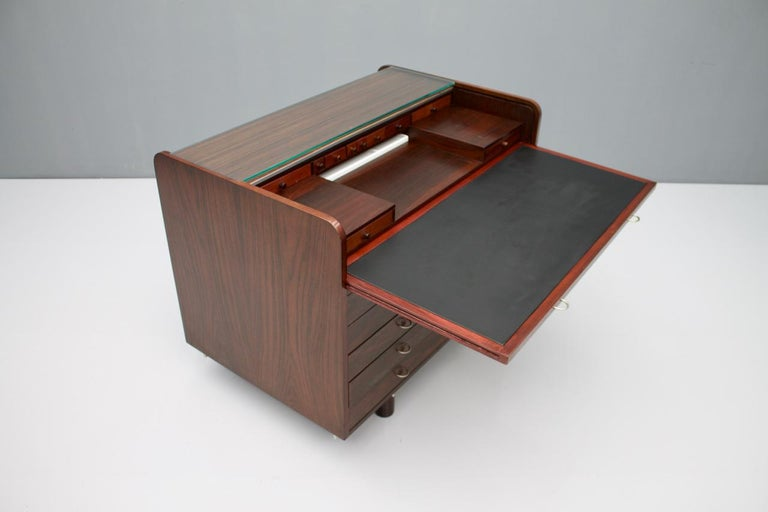 Gianfranco Frattini Mahogany Secretary Desk with Roll Top, Bernini, Italy, 1961 10