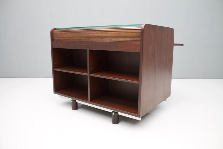Gianfranco Frattini Mahogany Secretary Desk with Roll Top, Bernini, Italy, 1961 11