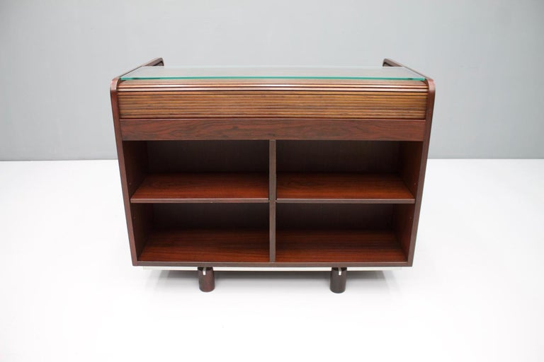 Gianfranco Frattini Mahogany Secretary Desk with Roll Top, Bernini, Italy, 1961 12