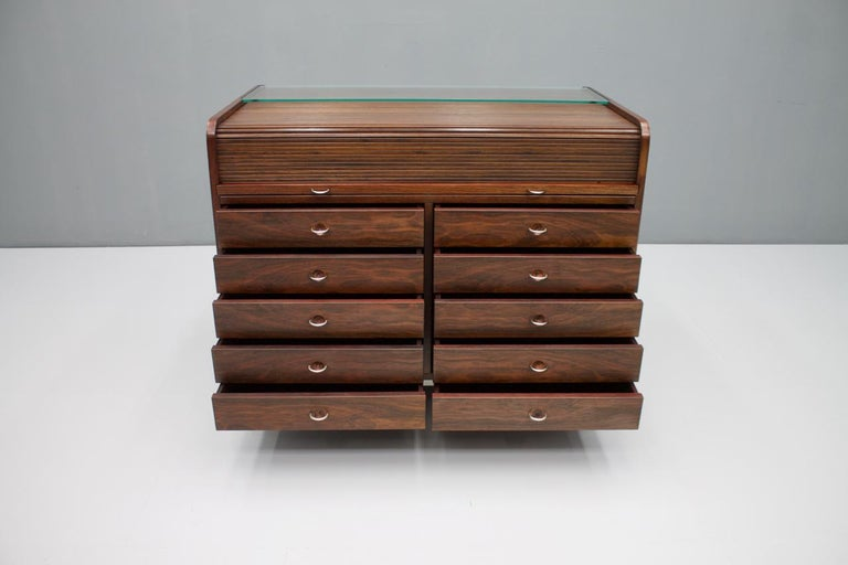 Mid-20th Century Gianfranco Frattini Mahogany Secretary Desk with Roll Top, Bernini, Italy, 1961