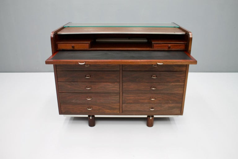 Gianfranco Frattini Mahogany Secretary Desk with Roll Top, Bernini, Italy, 1961 3