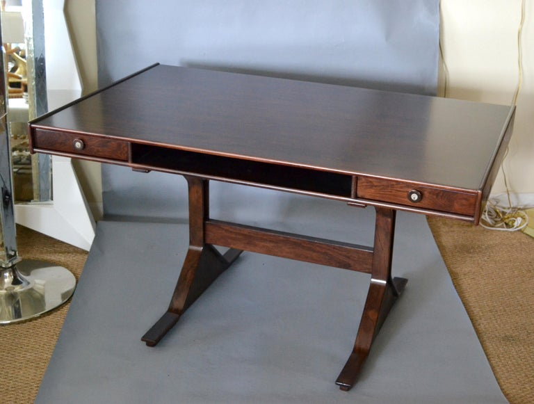 Gianfranco Frattini Mid-Century Modern Rosewood Desk Writing Table Bernini Italy For Sale 8