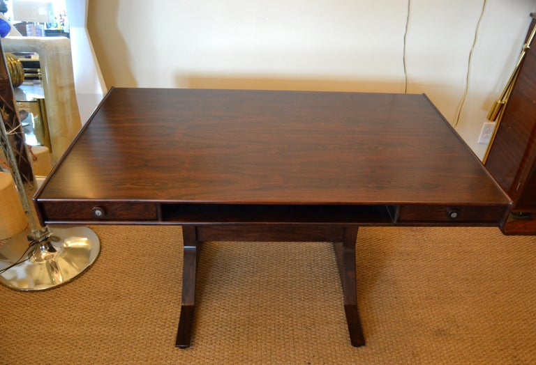 Gianfranco Frattini Mid-Century Modern Rosewood Desk Writing Table Bernini Italy For Sale 9