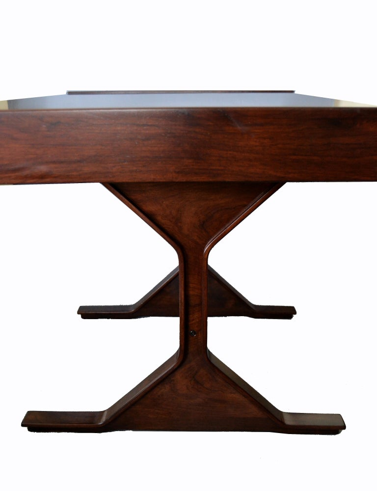 Gianfranco Frattini Mid-Century Modern Rosewood Desk Writing Table Bernini Italy For Sale 3