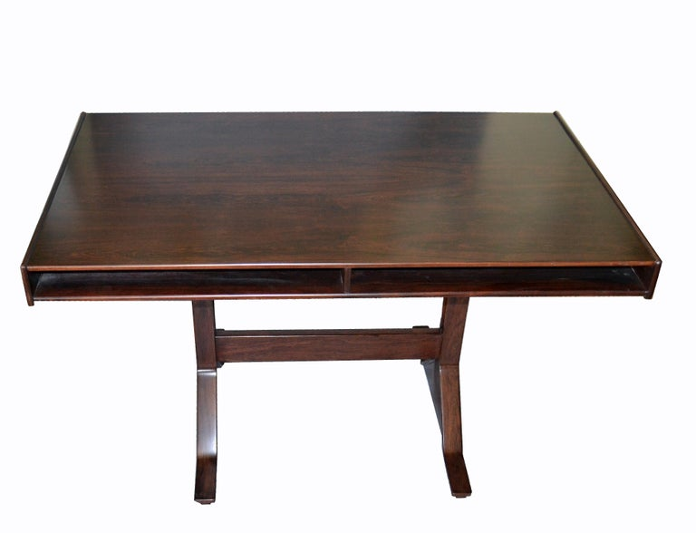 Gianfranco Frattini Mid-Century Modern Rosewood Desk Writing Table Bernini Italy For Sale 4