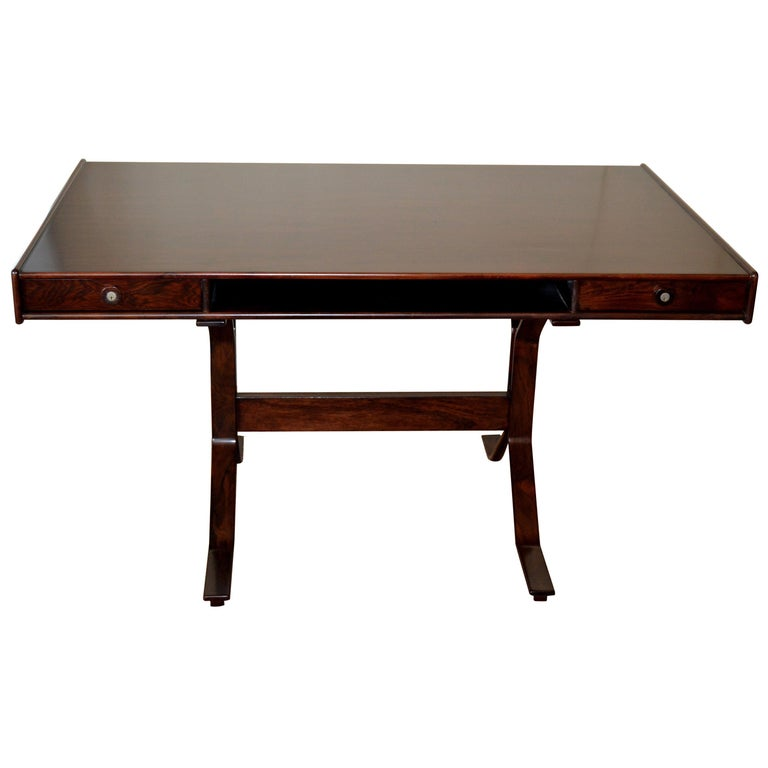 Gianfranco Frattini Mid-Century Modern Rosewood Desk Writing Table Bernini Italy For Sale